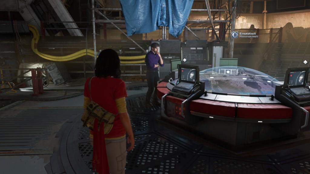 Das Missions-Terminal auf der Chimera. Von hier aus wählt ihr eure Missionen aus.